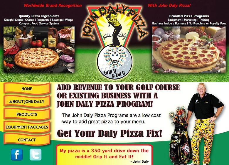 A screenshot of www.johndalypizza.com.