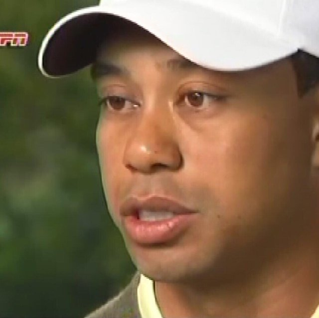 A screenshot of Tiger Woods, whose ESPN interview was aired March 21.