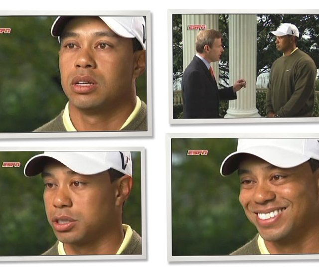 In these photos from video, Tiger Woods speaks during an ESPN interview near his home in Windermere, Fla., March 21.