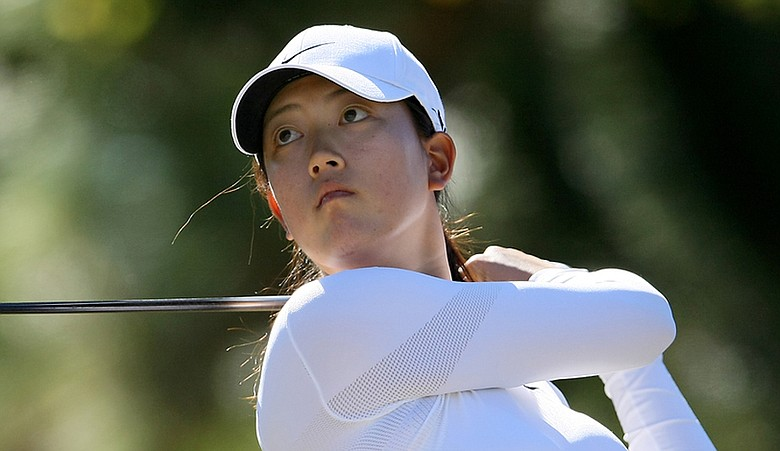 Michelle Wie hits a shot during LPGA Q-School in December.