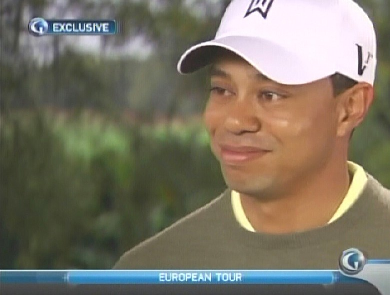 Tiger Woods during an interview with Kelly Tilghman Sunday.