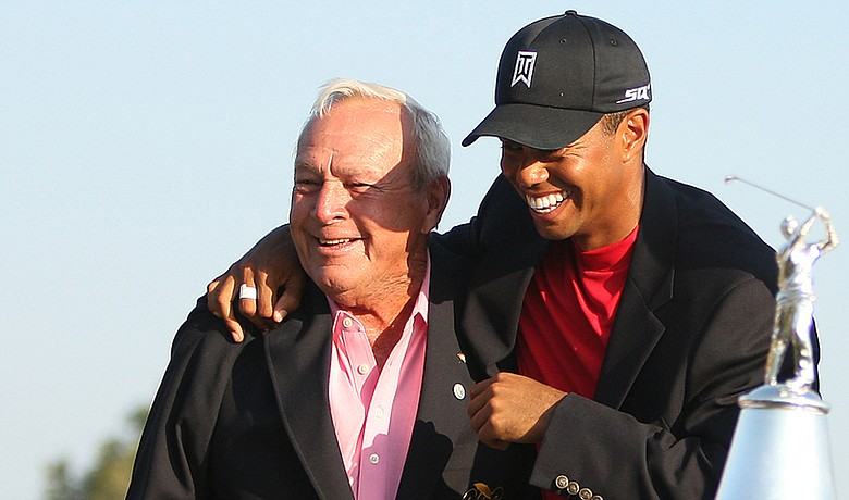 Arnold Palmer and Tiger Woods at Bay Hill in 2008.