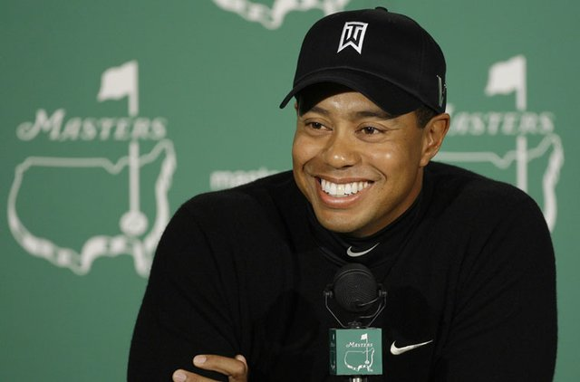 Tiger Woods speaks to the media during a pre-tournament press conference at the 2009 Masters.