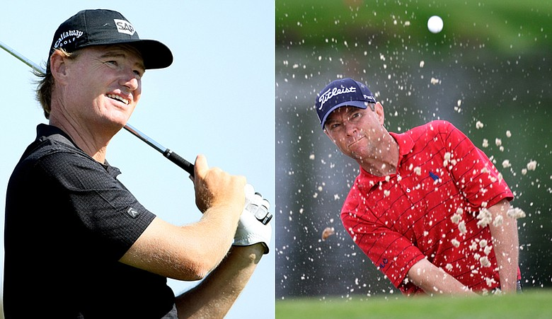Ernie Els (left) and Davis Love III are among the four tied for the lead at the Arnold Palmer Invitational.