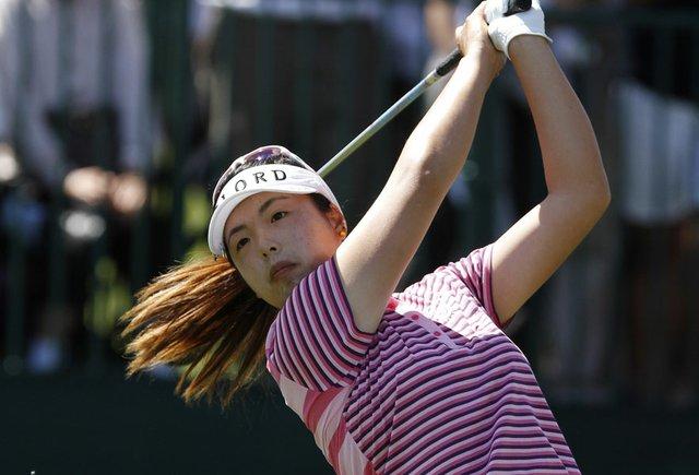 Shanshan Feng hits a tee shot during the final round of last week's LPGA Kia Classic.