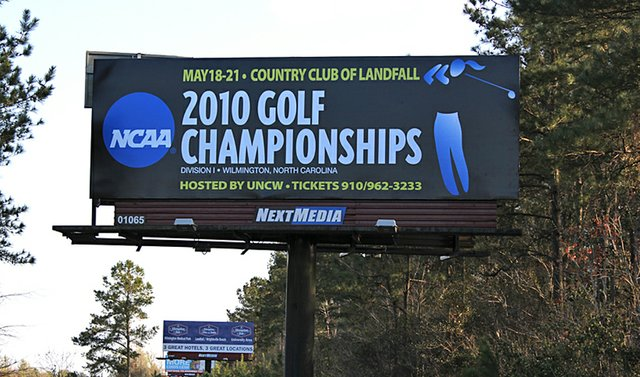 A billboard in Wilmington, N.C., promoting the NCAA Women's Championship.