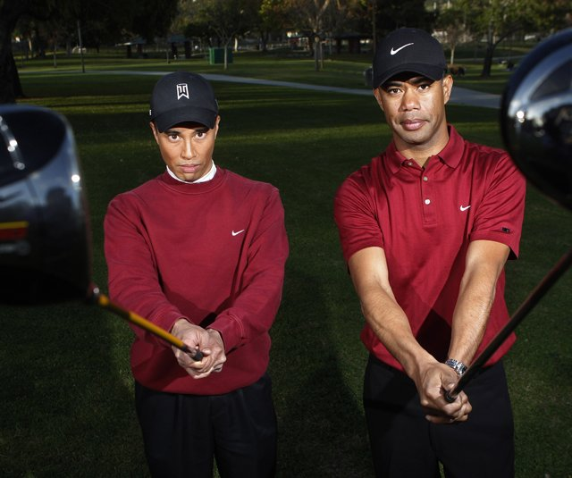 Cahn Oxelson, right, and Herme Chua have made a living as Tiger Woods impersonators. 