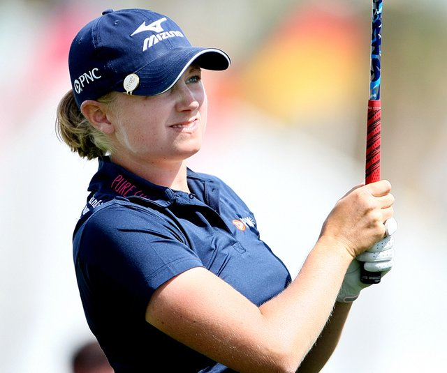 Stacy Lewis is two shots back of leader Song-Hee Kim after a 4-under 68 Friday at the Kraft Nabisco Championship. 