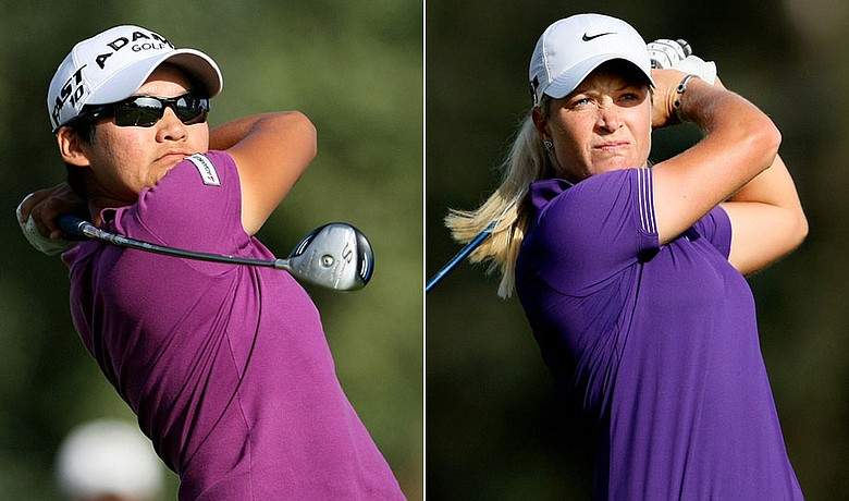 Yani Tseng (left) and Suzann Pettersen during the third round of the Kraft Nabisco Championship.