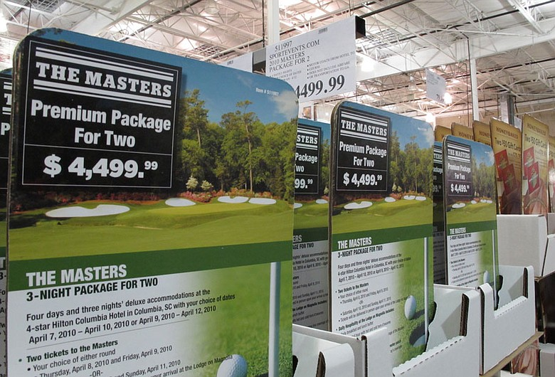 A sale display for Masters ticket packages at a Costco in Birmingham, Ala.