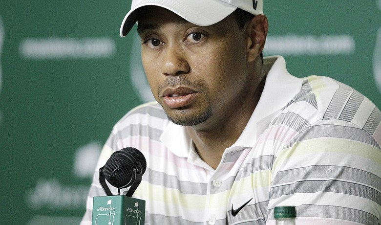 Tiger Woods speaks to the golf media Monday at Augusta National.