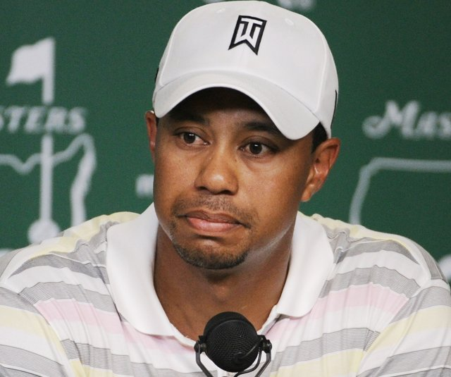 Tiger Woods takes a question from a reporter during Monday afternoon's press conference at Augusta.