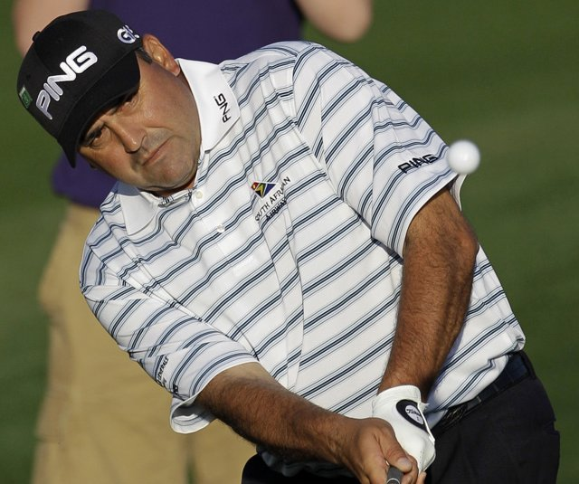 Angel Cabrera hits a shot during Tuesday&#39;s practice round.