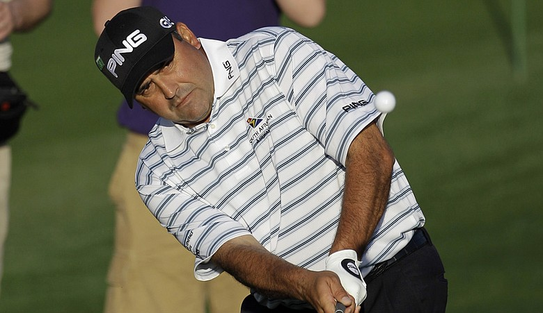 Angel Cabrera hits a shot during Tuesday's practice round.