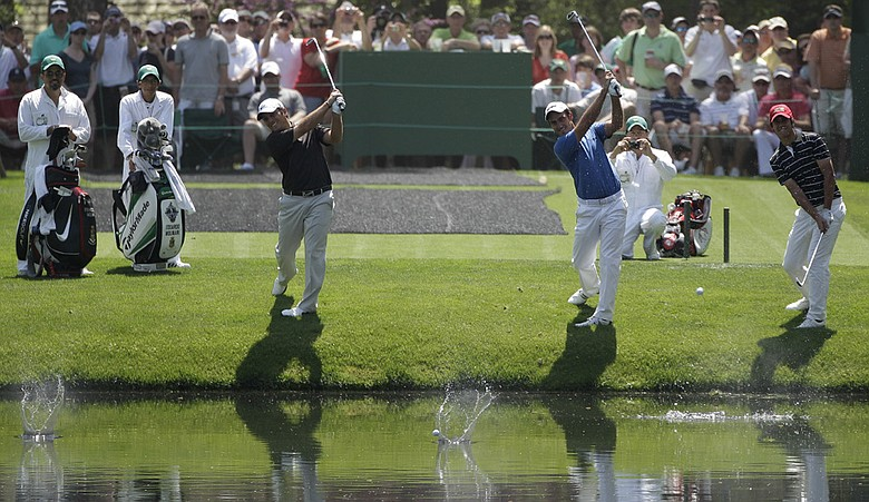 Franesco, left, and Edoardo Molinari skip ball across the pond at No. 16 with fellow Italian, British Amateur champion Matteo Manassero.