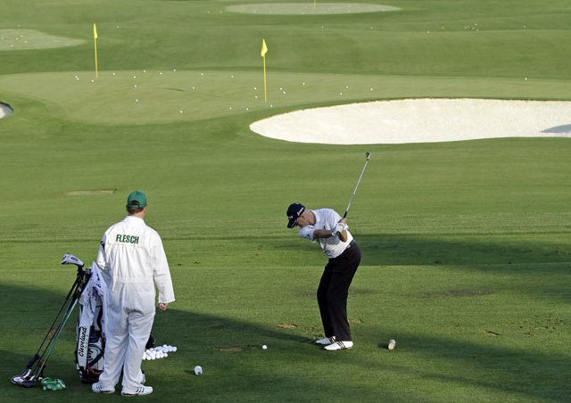 Steve Flesch practices on the new driving range at Augusta National.