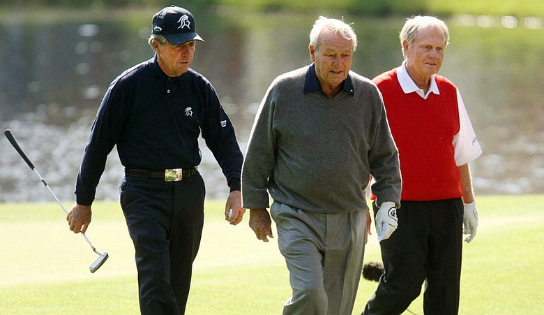Gary Player, Arnold Palmer and Jack Nicklaus at Wednesday's Par 3 Contest.