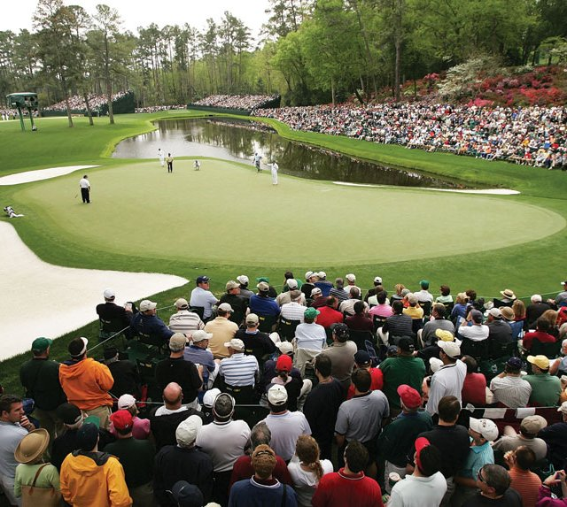 The par-3 16th hole at Augusta National Golf Club.