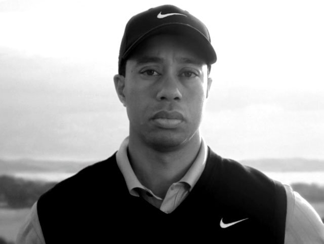 A screenshot from the new Nike commercial featuring Tiger Woods.