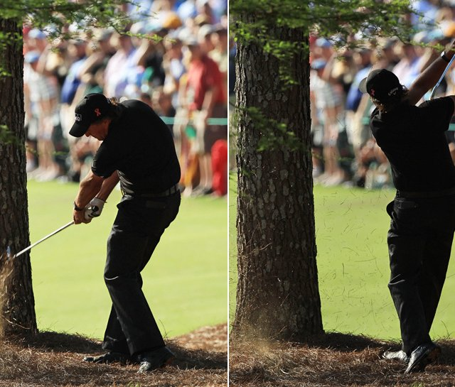 """(Phil Mickelson) said, 'Listen, there's an opening in the trees and it's just a 6-iron. All I have to do is execute. It's not like I have to hit a big hook or big cut. I have to hit a 6-iron on a big ol' green.' So I got out of the way.""