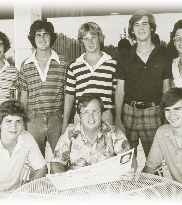 Mike Bentley (front row, center) joins tournament staff at the first AJGA tournament in 1978, the Tournament of Champions at Inverrary Country Club.