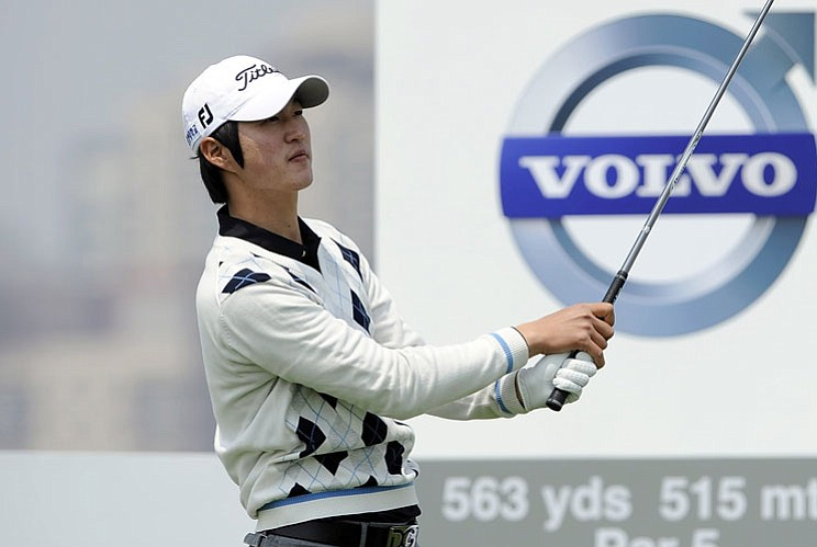 Kim Do-Hoon hits a tee shot during the second round of the Volvo China Open.