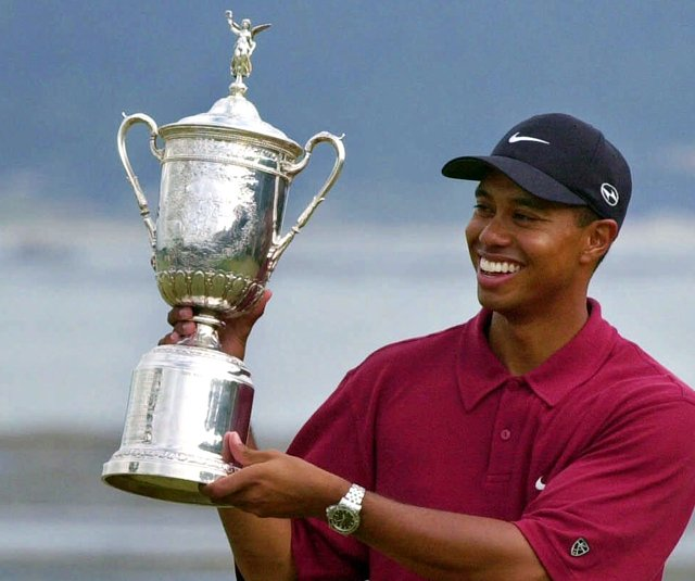 Tiger Woods after winning the 2000 U.S. Open at Pebble Beach by 15 shots.