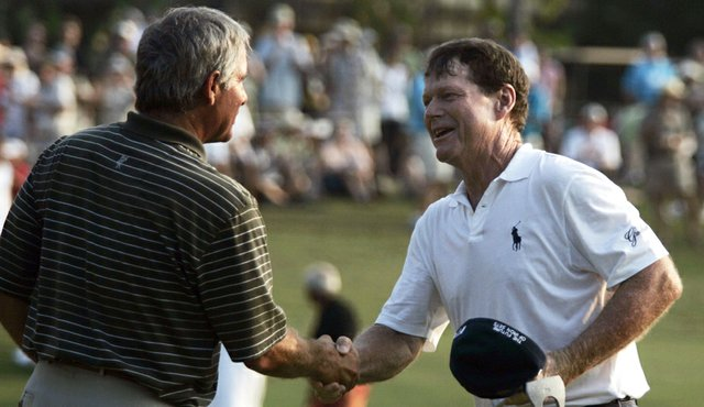 Tom Watson (right) and Fred Couples at this year's Mitsubishi Electric Championship in Hawaii.