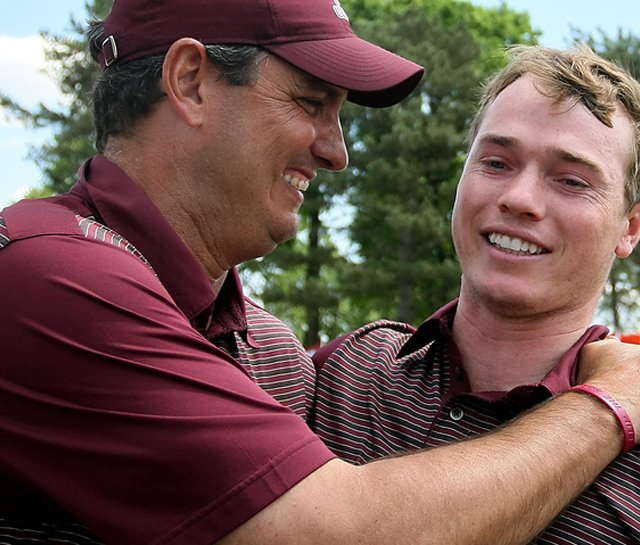J.T. Higgins (left) celebrates with Bronson Burgoon after the Aggies won the 2009 NCAA Championship.