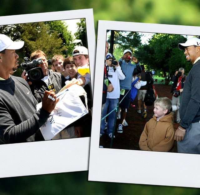 Tiger Woods signs autographs (left) and stops on his way to the second hole (right) to pose with Andrew Nicholson, 6, of Gastonia, N.C. during Wednesday&#39;s Pro Am at the Quail Hollow Championship.