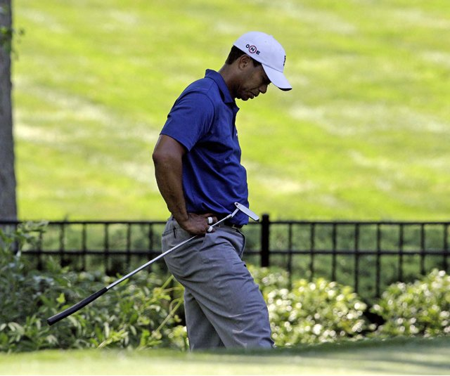 Tiger Woods on the seventh hole Friday at the Quail Hollow Championship.