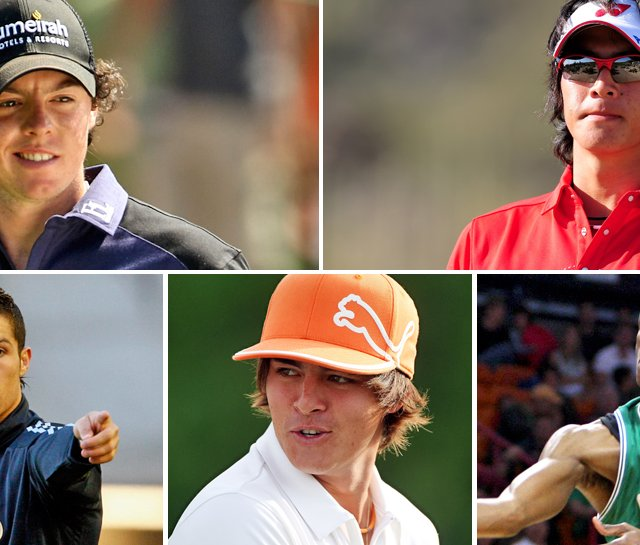 Clockwise from top left: Rory McIlory, Ryo Ishikawa, Rajon Rondo, Rickie Folwer, Cristiano Ronaldo