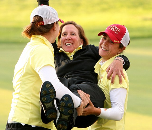USC coach Andrea Gaston celebrates after winning the 2008 NCAA Women&#39;s Championship.