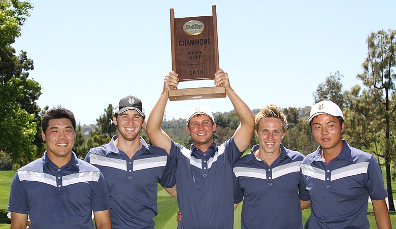 UC Irvine poses with its Big West Conference Championship trophy on Tuesday.