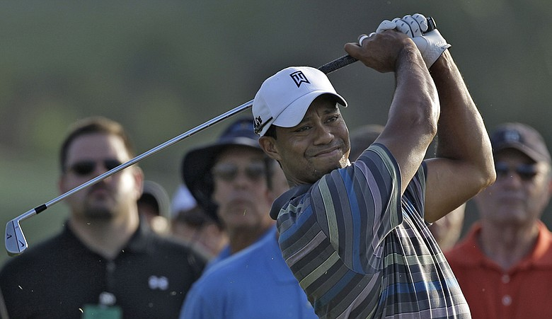 Tiger Woods practices Wednesday at TPC Sawgrass.