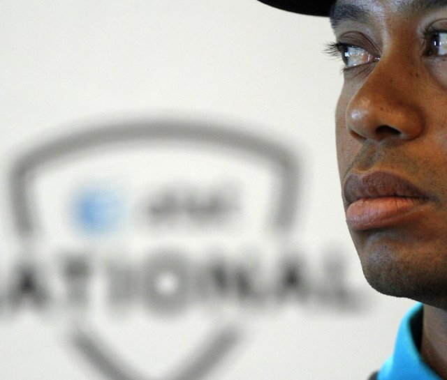 Tiger Woods at a press conference Monday at Aronimink Golf Club.