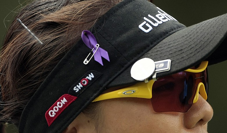 Players wore purple ribbons on their caps at the Bell Micro LPGA Classic in honor of Erica Blasberg.