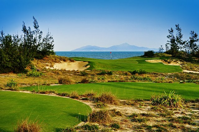 Greg Norman's new Dunes Course (No. 16 shown here) at Danang Golf Club in Vietnam.