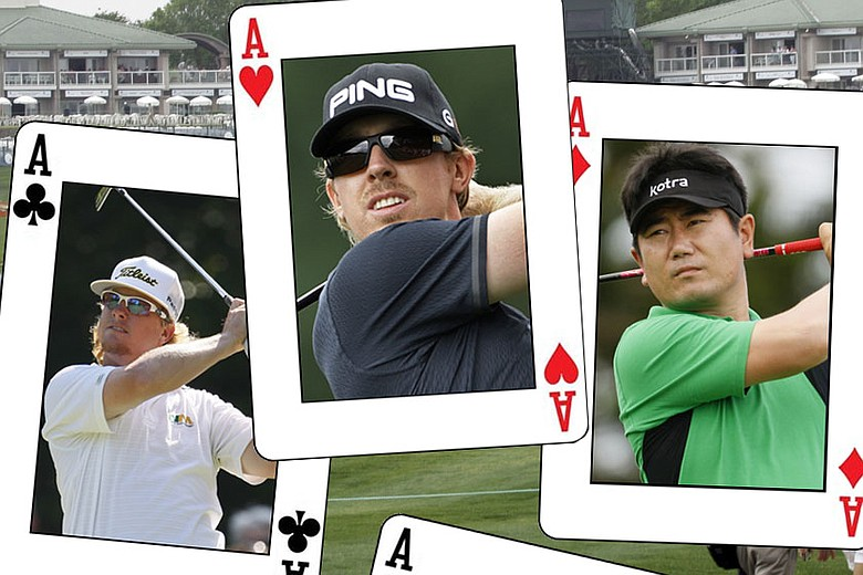 (From left to right) Charley Hoffman, Hunter Mahan and Y.E. Yang.