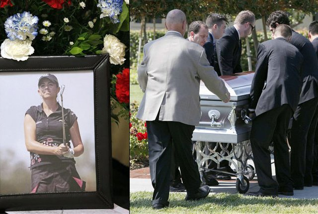 Pallbearers escort the casket of Erica Blasberg at a public memorial service at Eagle Glen Golf Club in Corona, Calif., Wednesday, May 19, 2010.