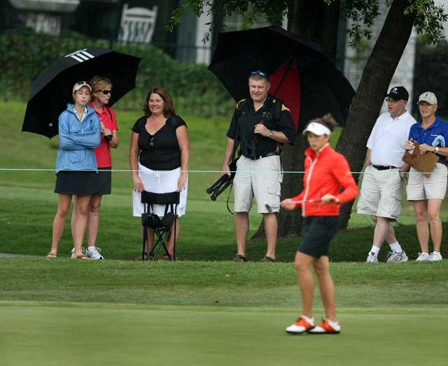 Spectators watch the action during the second round of the NCAA Women's Championship.