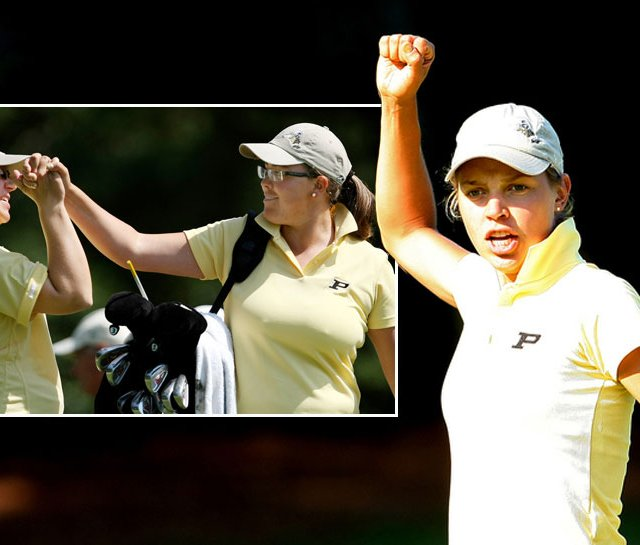 Purdue&#39;s Thea Hoffmeister reacts to her putt at No. 11 during the third round of the NCAA Women&#39;s Championship, while Boilermakers assistant coach Johanna Joseffson (left) sends freshman Laura Gonzalez-Escallon  on her way off the first hole.