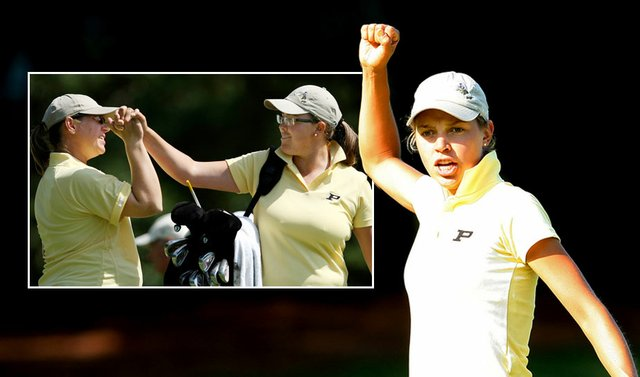 Purdue's Thea Hoffmeister reacts to her putt at No. 11 during the third round of the NCAA Women's Championship, while Boilermakers assistant coach Johanna Joseffson (left) sends freshman Laura Gonzalez-Escallon  on her way off the first hole.