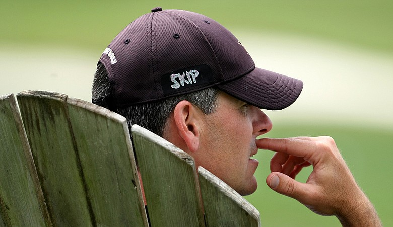Vanderbilt coach Greg Allen sports a hat with the lettering SKIP, in remembrance of LPGA player Erica Blasberg. Allen was Blasberg's college coach at Arizona.