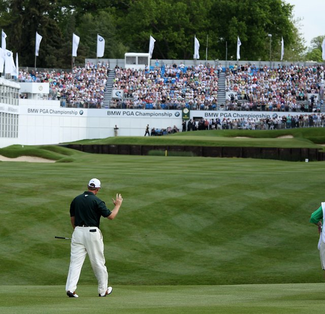 Ernie Els walks up the 18th fairway at the Wentworth Club during the second round of last weeks BMW PGA Championship.