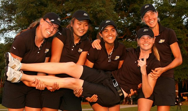 Purdue celebrates after winning the NCAA Women's Championship on May 21.