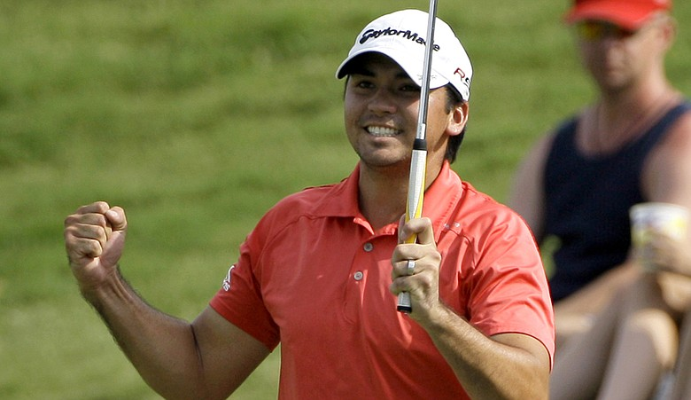 Jason Day celebrates at No. 18 during Round 3 of the Byron Nelson.