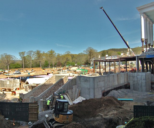 Construction on the underground casino near the front entrance of The Greenbrier.