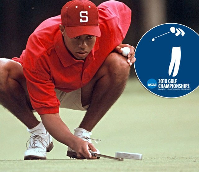 Tiger Woods lines up a putt during the final round of the 1996 NCAA Championship at The Honors Course.