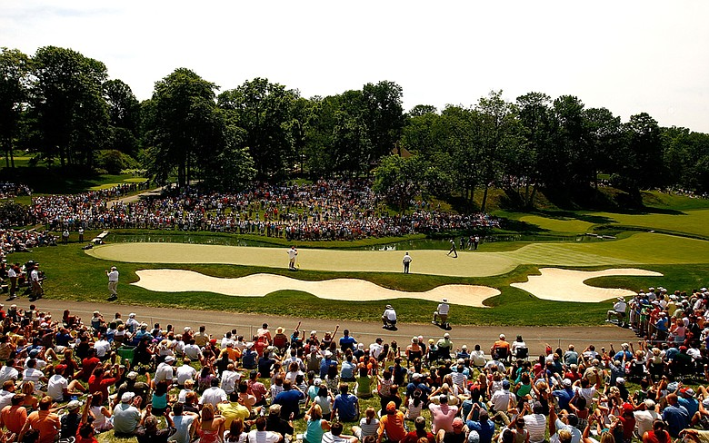 The 14th green during the third round of the 2009 Memorial Tournament at the Muirfield Village Golf Club.